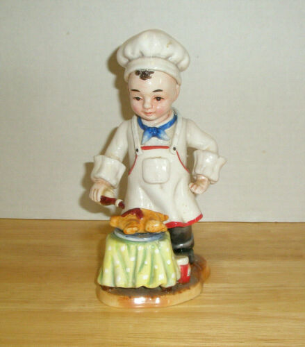 Vintage Figurine  Young Chef Bastes Turkey at Table