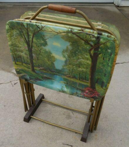 Vintage Mid Century MCM Quaker Ind. Fiberglass SEASONS TV Trays Set w Stand