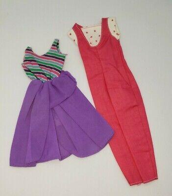 Vintage Barbie 80s Fashion Fun #2088 7906 Purple Variation Dress Overalls Lot