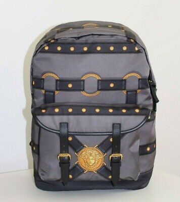Brand-new Men's Versace Gray/Gold/Black Harness Print Backpack (One-Size)