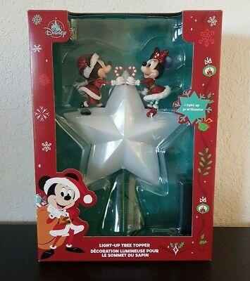 Disney Santa Mickey & Minnie Mouse Light-Up Holiday Christmas Tree Topper NEW