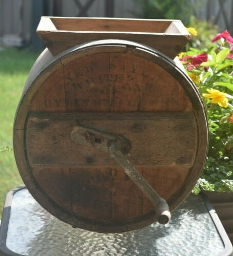 Primitive Wooden Butter Churn,New Style, White Cedar, Cylinder Churn N0 1, 3 Gal