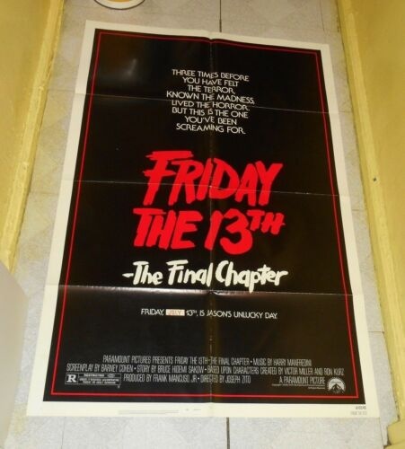 original FRIDAY THE 13th -- THE FINAL CHAPTER advance one-sheet movie poster