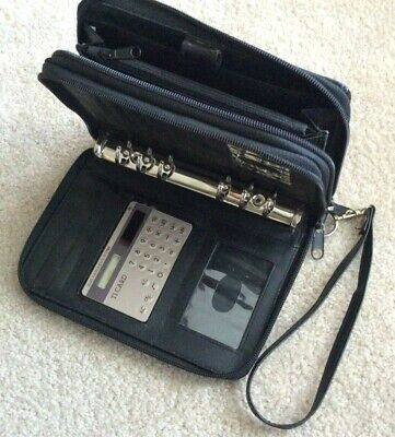 Compact .875 Zip 2 Section Planner Binder Wallet Blk Faux Leather Franklin Covey