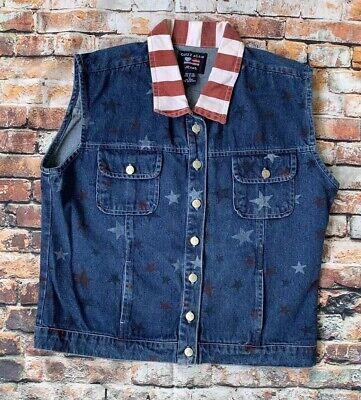 QUIZZ Again Denim Button front Patriotic American Flag Jean Vest Women