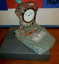 WATERFORD LISMORE LARGE MANTLE CLOCK 6.5 H WITH BOX MADE IN IRELAND WITH LABELS