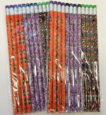 24 (2 packs of 12) Halloween Pencils Classroom Reward Party Favor trick or treat](Halloween Favor)