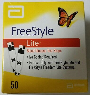 50 Freestyle Lite Blood Glucose Diabetic Test Strips Exp  2019   Same Day Ship