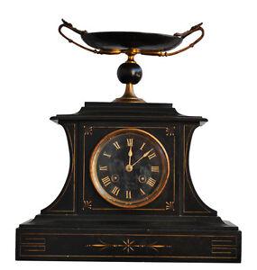 pendule marbre noir surmont e coupelle bronze dor xix me ebay. Black Bedroom Furniture Sets. Home Design Ideas