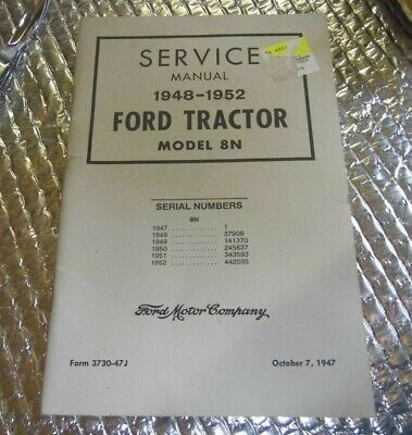 Ford Tractor Service Manual 1948-1952 8n Reprint