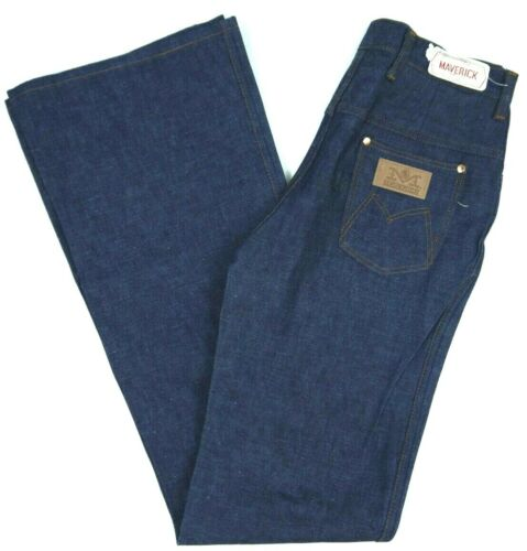 VINTAGE 70s MAVERICK BLUE BELL BOTTOM FLARE JEANS WOMENS 9/10 NWT NOS 29X36*