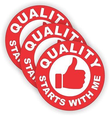 3x Quality Starts With Me Hard Hat Stickers Welding Helmet Decals Vinyl Labels