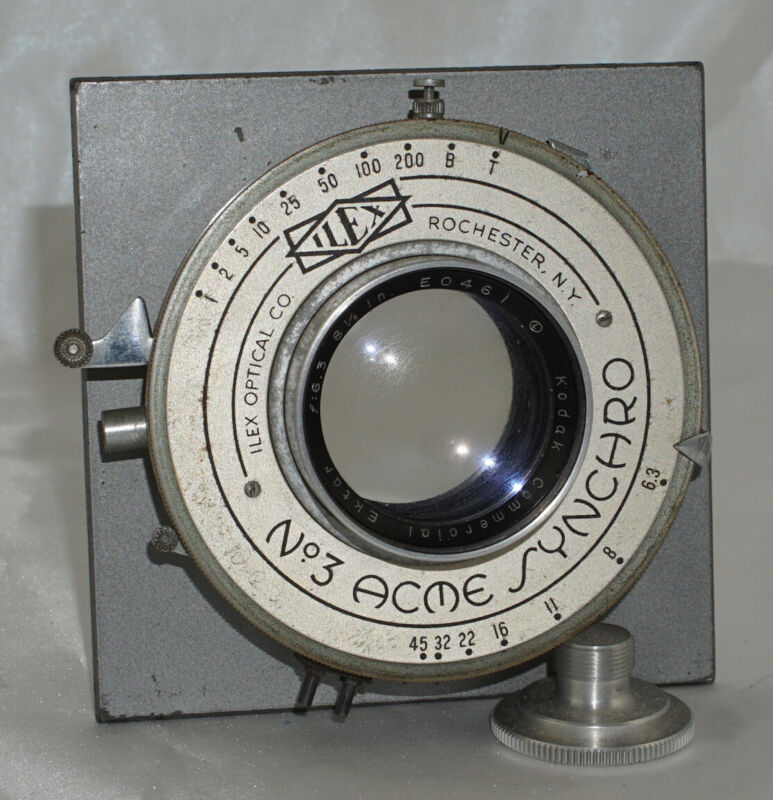 "Kodak Commercial Ektar f6.3 8 1/2"" Camera Lens in No. 3 ACME Synchro Shutter"