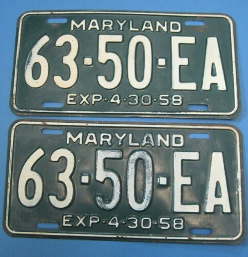 1958 Maryland truck License Plates Matched Pair