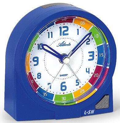 Kinderwecker Blau Jungen ohne Ticken Lernuhr Uhrzeit lernen Einschulung -