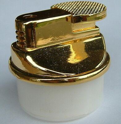 Gas Feuerzeug Tischfeuerzeug Einsatz Gold rund 3,7 x 4,0 cm elektro Zündung NEU!