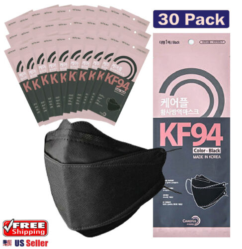 【 30 Pack 】 BLACK KF94 Certified Face Mask, Individually Packed,Made in Korea
