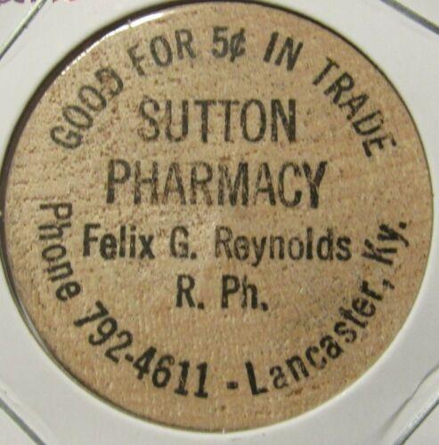 Vintage Sutton Pharmacy Lancaster, KY Wooden Nickel - Token Kentucky
