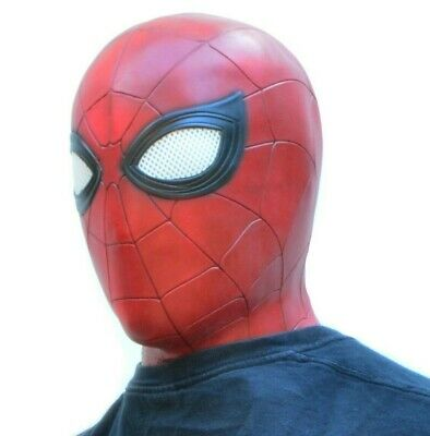 Latex Superhero Costume (Halloween Spiderman Mask Costume Party Comicon Mask Latex)