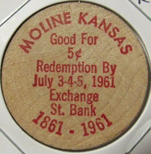 1961 Exchange St. Bank Moline, KS Wooden Nickel - Token Kansas