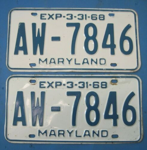 1968 Maryland License Plates Matched Pair nice original