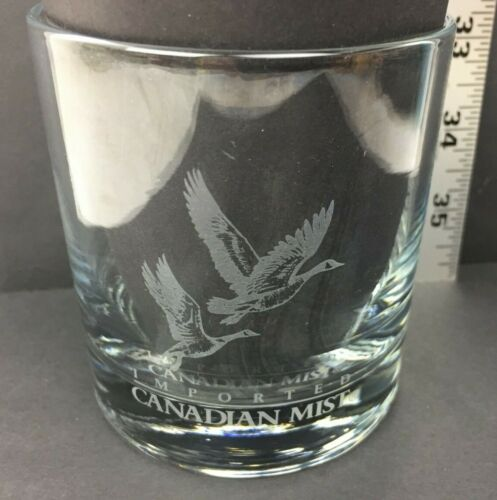 Imported Canadian Mist Goose Geese Logo Heavy Base Rocks Glass Used