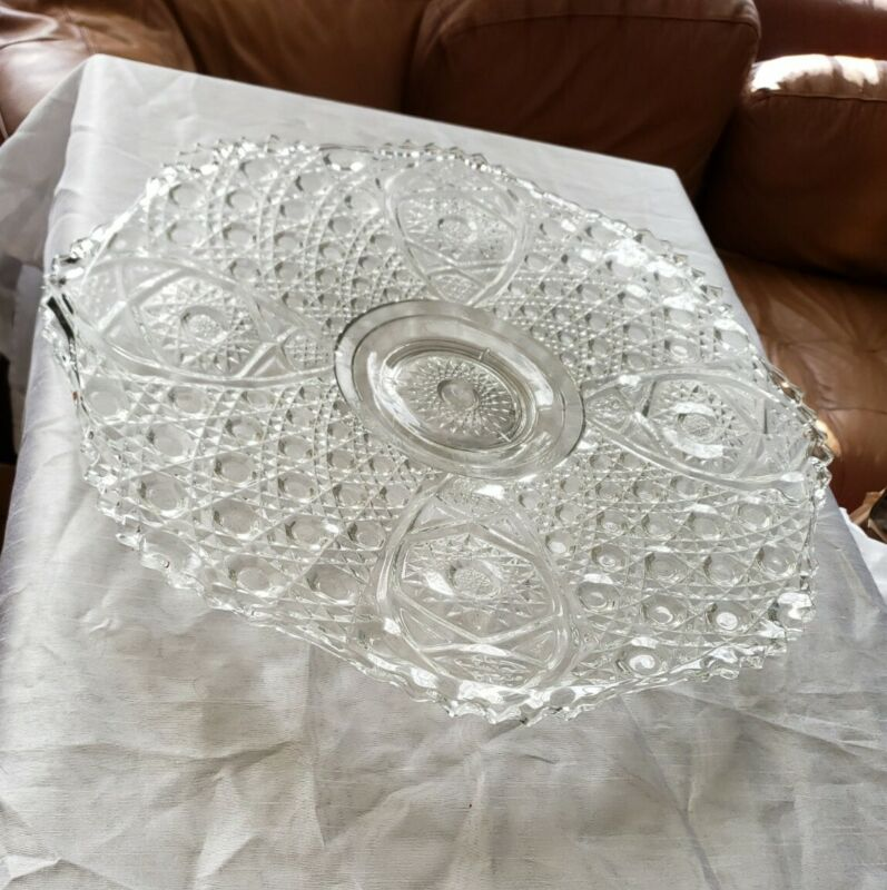 Vintage daisy and button pattern Smith Glass platter