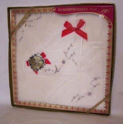 Vintage Boxed Ladies Handkerchief Set (3)  White & Grey Embroider All Cotton
