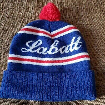 Labatt Blue Beer Beanie Stocking Cap Knit Ski Canadian DOUBLE KNIT  SKI HAT
