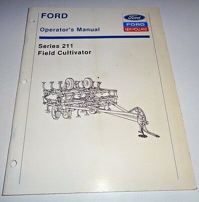 Ford New Holland Series 211 Field Cultivator Operators Manual Original 1289