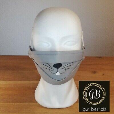 Mundschutz mit Nasenbügel, Maske, Hase, grau Zähne, Schnauze, waschbar,