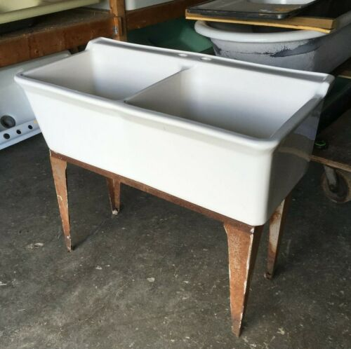 Vtg Mid Century Ceramic White Double Deep Basin Utility Slop SInk Fords 138-19E