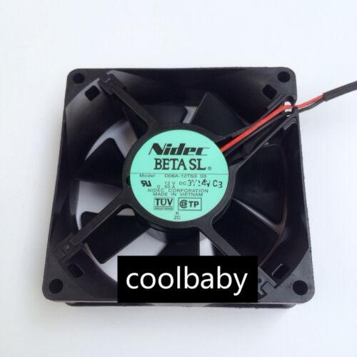 Nidec D08A-12TS3 03 Fan DC12v 0.50A 80*80*25mm 2pin