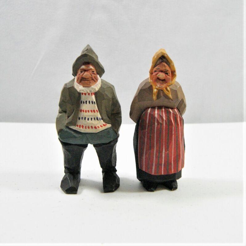 "2 Vintage Sweden Hand Carved Wood Old Man Woman Couple Figure Swedish 5"" Signed"