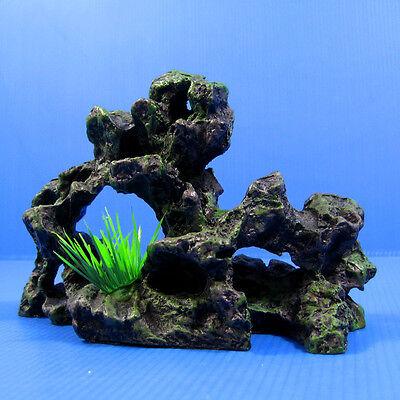"""Rock cave ruins Aquarium Ornament Decoration Decor 6.9"""" X 2.5"""" X 4.3"""" stone HIDE"""