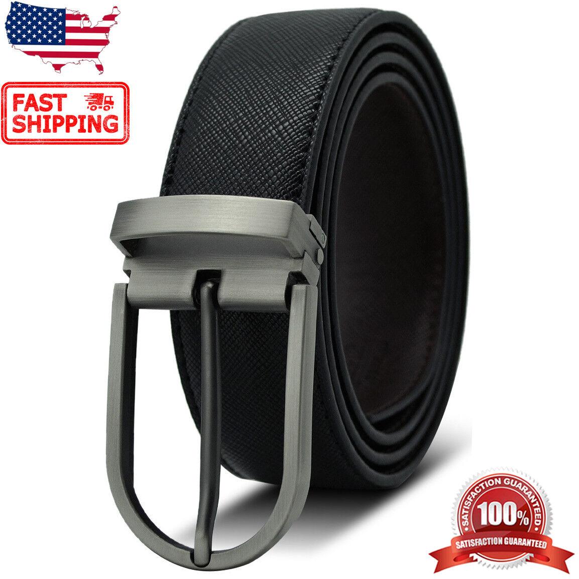 Men's Classic Metal Buckle Reversible Black & Coffee Genuine Leather Dress Belt Belts