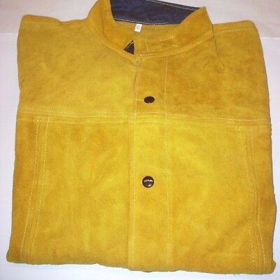 Leather Welding Cutting Safety Jacket 30 Long Snap Front Inside Pocket Size Xl