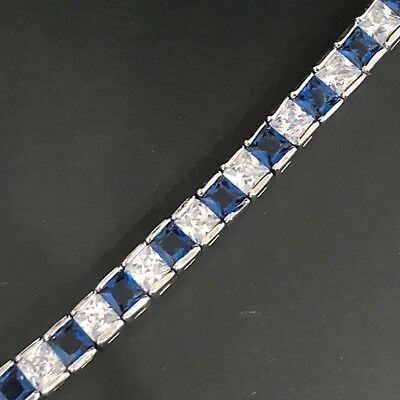 23 Ct Blue Sapphire CZ Tennis Bracelet Women Jewelry Gift 18K White Gold Plated ()