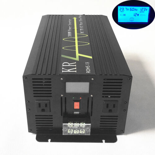 Solar Power Inverter 3000W 24V to 120V 60HZ Off Grid Pure Sine Wave LCD from US