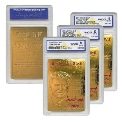 DONALD TRUMP 45th President 23K GOLD Card SIGNATURE 2020 Gem-Mint 10 (QTY - 3)