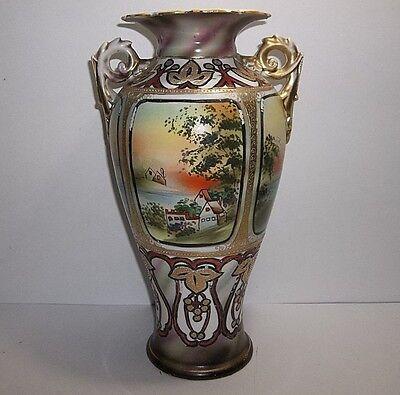 """Antique NIPPON Porcelain VASE Hand Painted Gold Gilt Scene 12"""""""