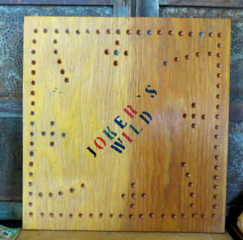 Primitive Old JOKERS WILD Game Board Folk Art Gameboard Wood Wooden Painted
