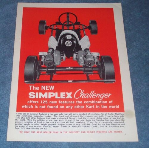 """1960 Simplex Challenger Vintage Kart Ad """"...Offers 125 New Features..."""""""