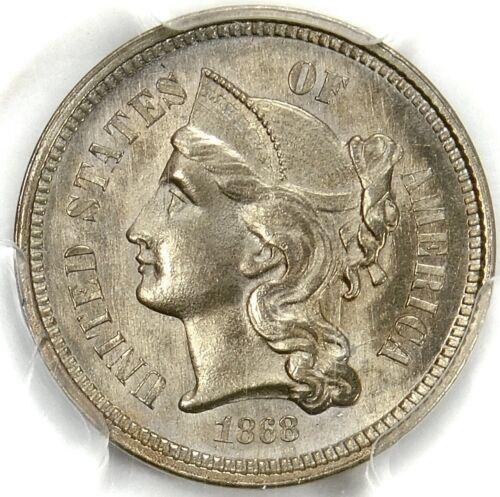 💙💎🔥💎PCGS MS66 1868 3 CENT NICKEL