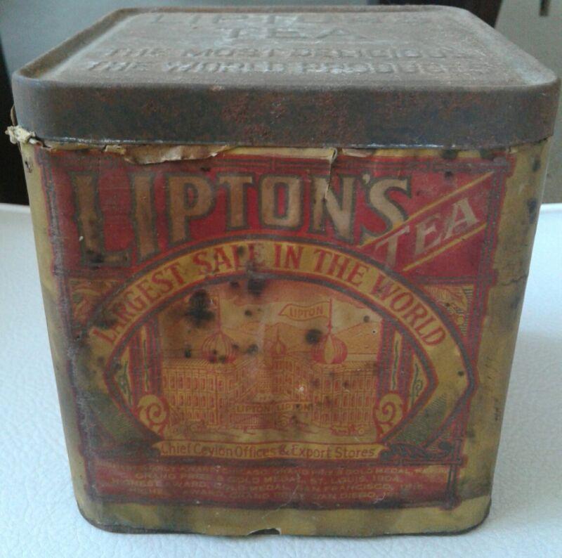 Old Lipton's Tea Tin Vintage Lipton Planter Advertising Antique Kitchen Metal