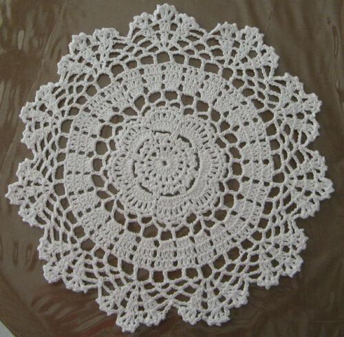 """New Hand Crocheted Round Doily 11"""" Natural Handmade US c"""