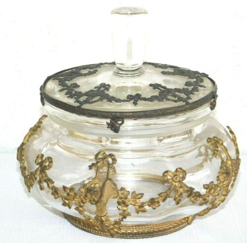 Antique Metal Wrapped Overlay Applied Encased Lidded Glass Dresser Candy Dish