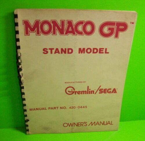 Monaco GP ORIGINAL Video Arcade Game Service Parts Manual 1980 + Schematics USA