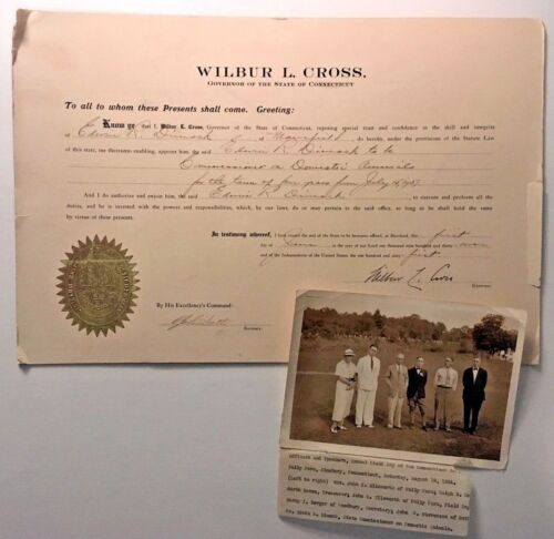 Connecticut STATE SEAL Document WILBUR L CROSS Commissioner on Domestic Animals