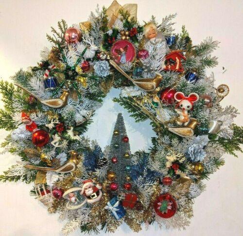 Vintage Large Retro Christmas wreath kitsch Elf Japan Shiny Brite Decor MCM
